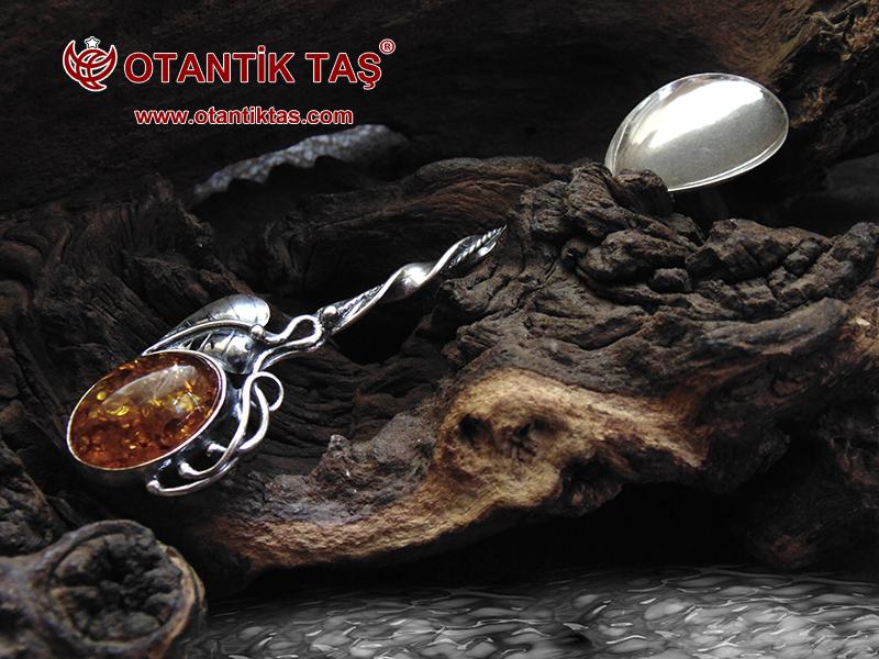 Kehribar Gümüş Kaşık