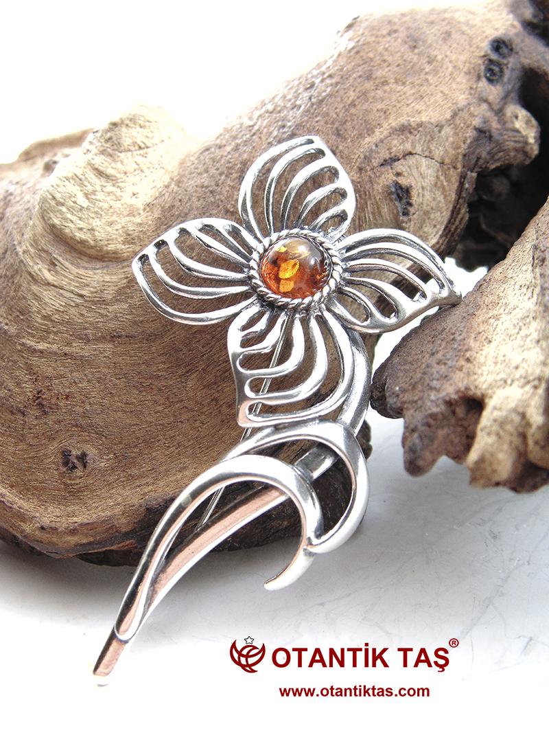 Kehribar Gümüş Broş