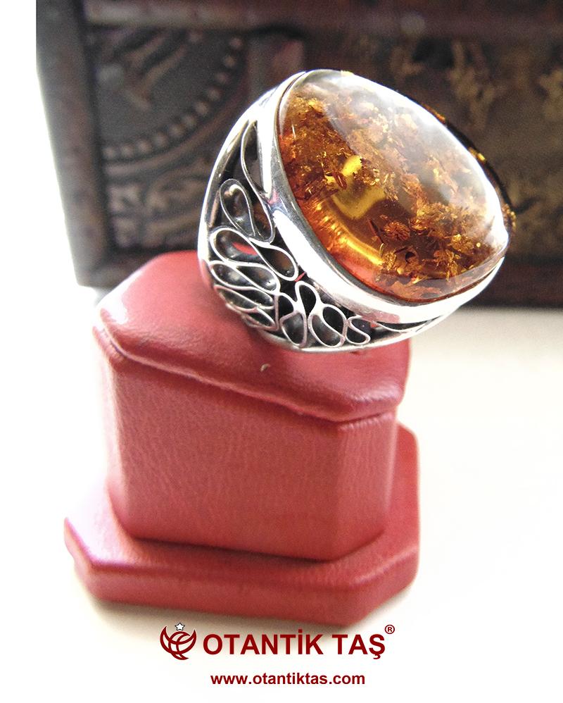 Kehribar Taş Gümüş Yüzük