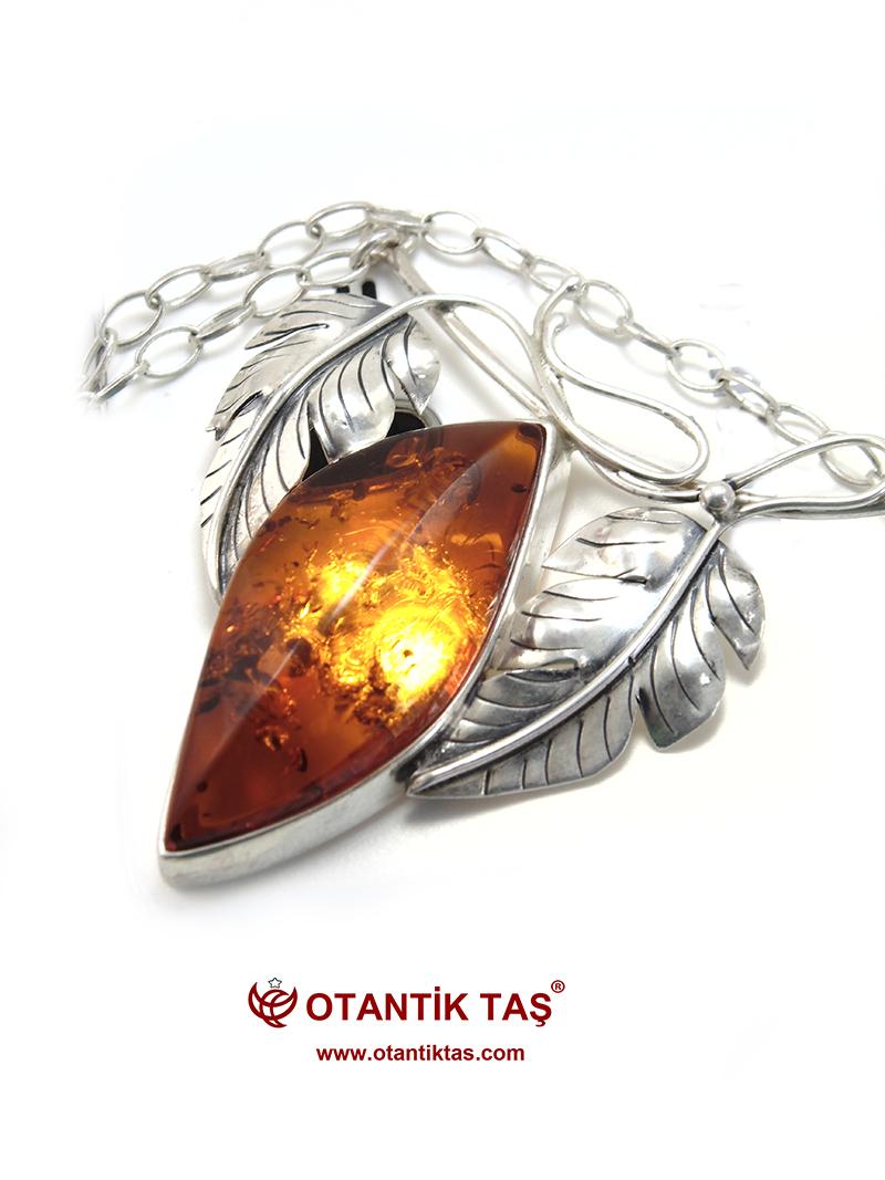 Kehribar Gümüş Kolye