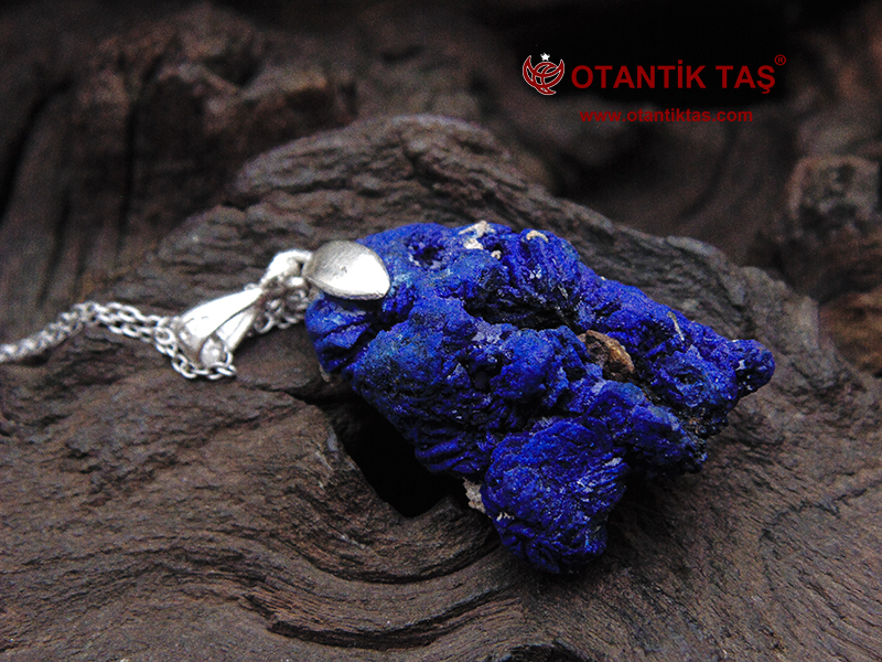 Mavi Azurit Gümüş Kolye