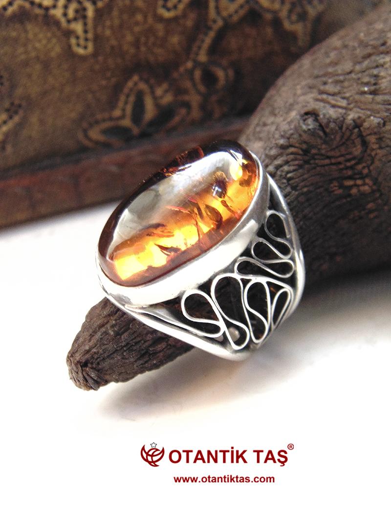 Kehribar Gümüş Yüzük