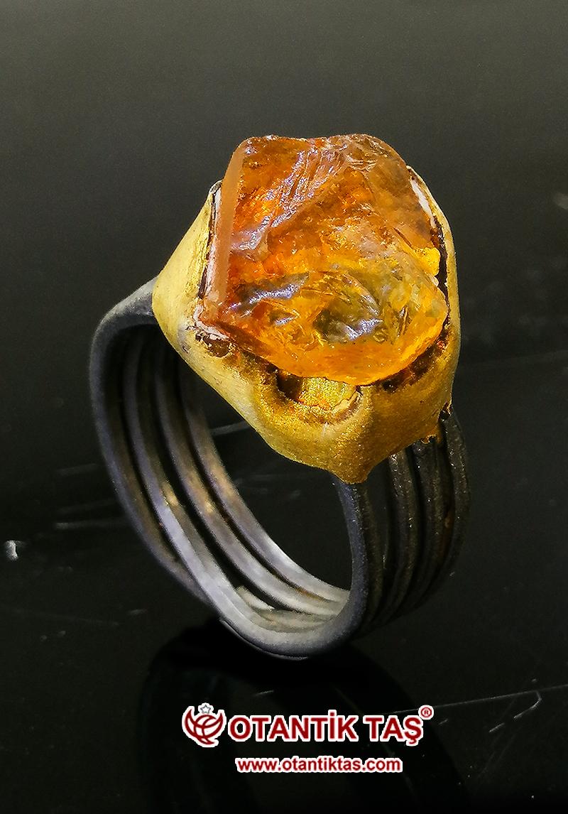Sitrin Taşı Gümüş Yüzük