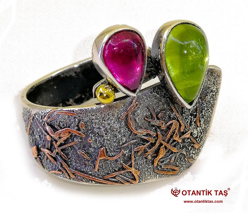 Turmalin Olivin Taşı Yüzük